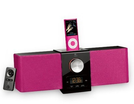 Logitech-Pure-Fi-Express-Plus-iPod-iPhone-Dockingstation-Fernbedienung-pink-NEU