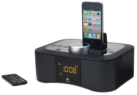 Logitech-Clock-Radio-Dock-S400i-Lautsprecher-fuer-Apple-iPhone-iPod-schwarz-NEU